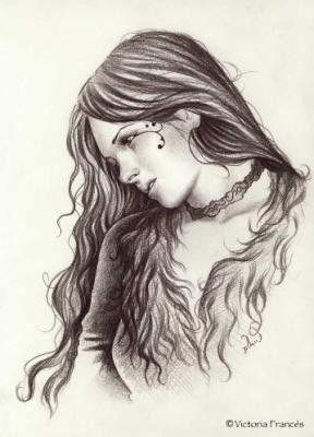 Dessin Sans Couleur Jeune Fille Triste